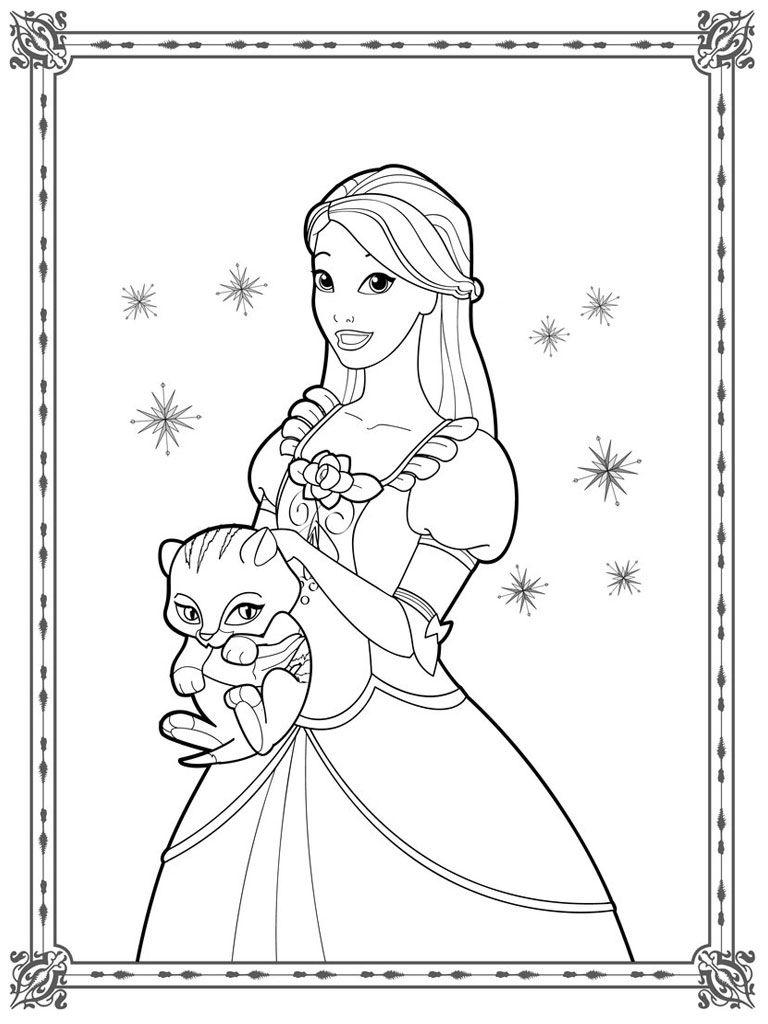 Realistic princess coloring pages - Barbie Coloring Pages For Girls Realistic Coloring Pages