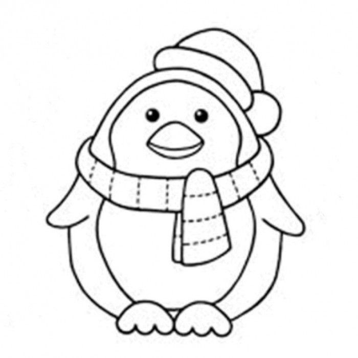 Penguin Coloring Pages Printable Cute On Christmas