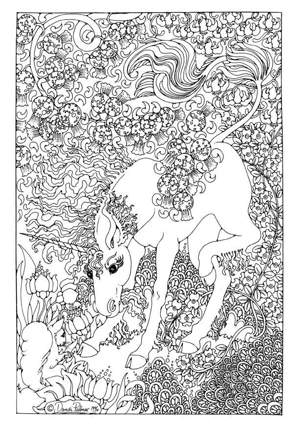 Detailed coloring pages for adults printable fantasy az for Mythical coloring pages for adults