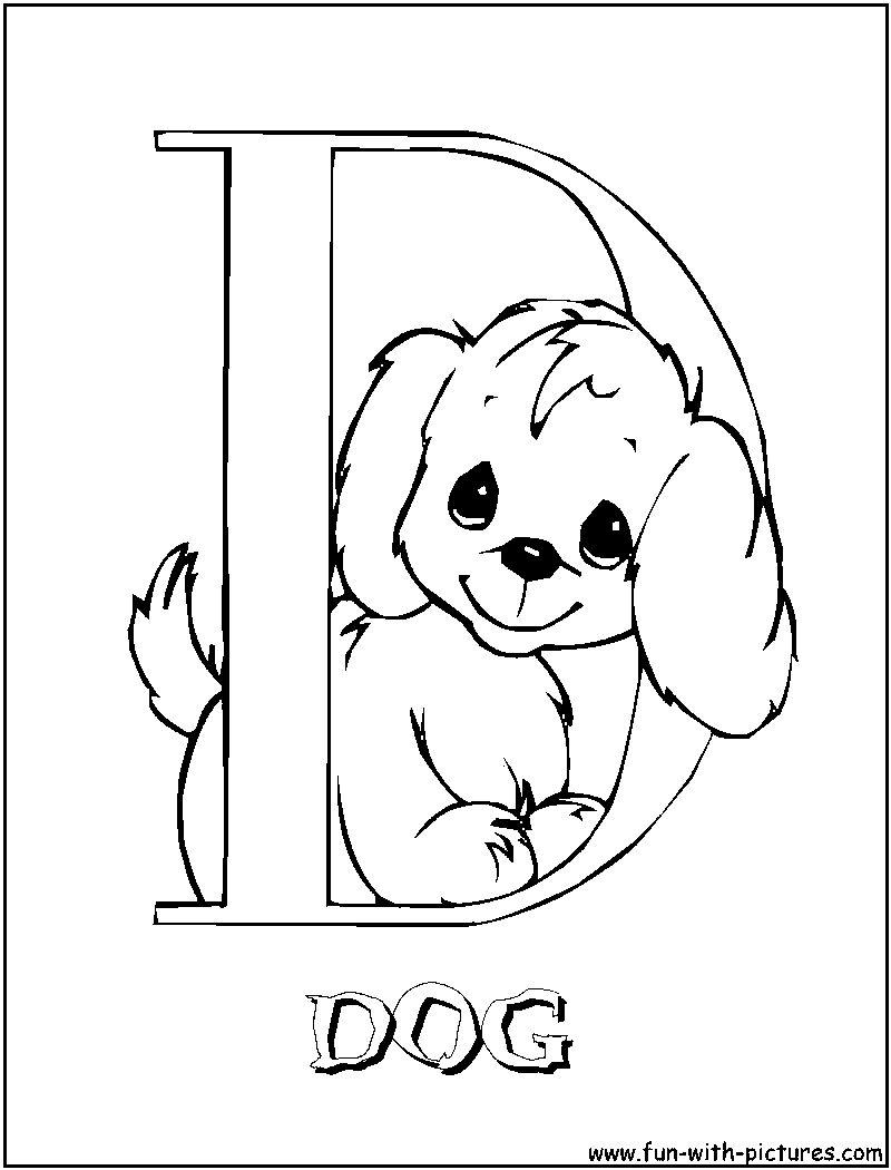 D for dog coloring pages