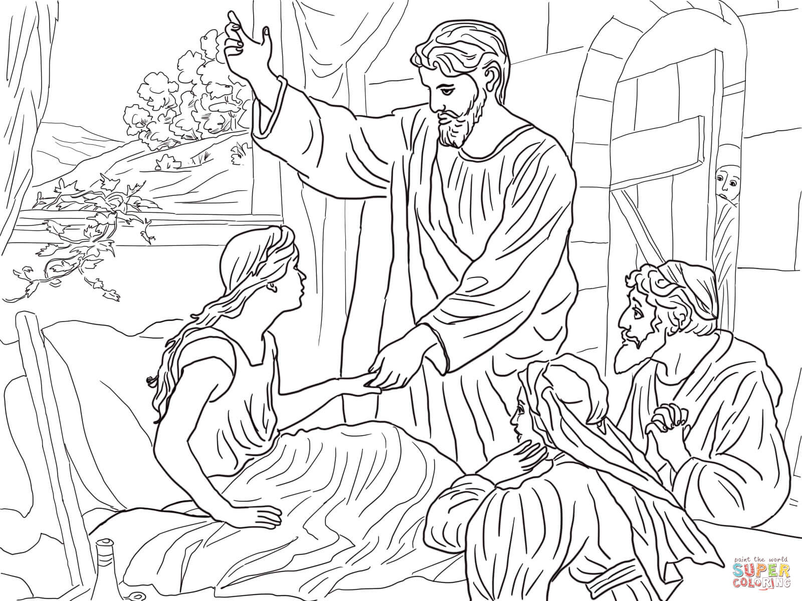 Jesus Raises Lazarus from the Dead coloring page | Free Printable ...