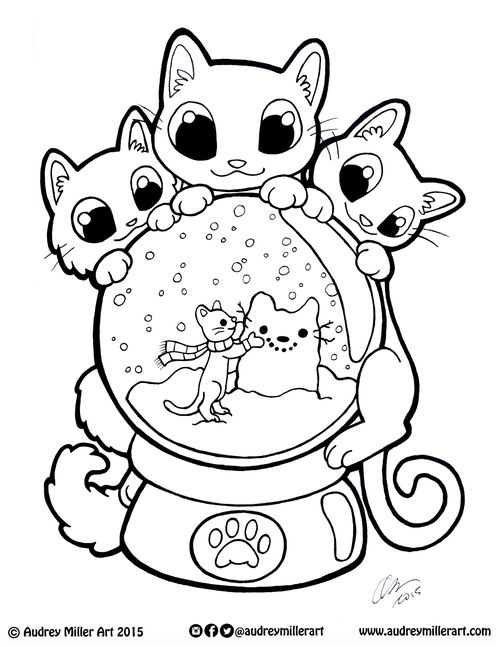 Kitty Snow Globe Coloring Page — Audrey Miller Art