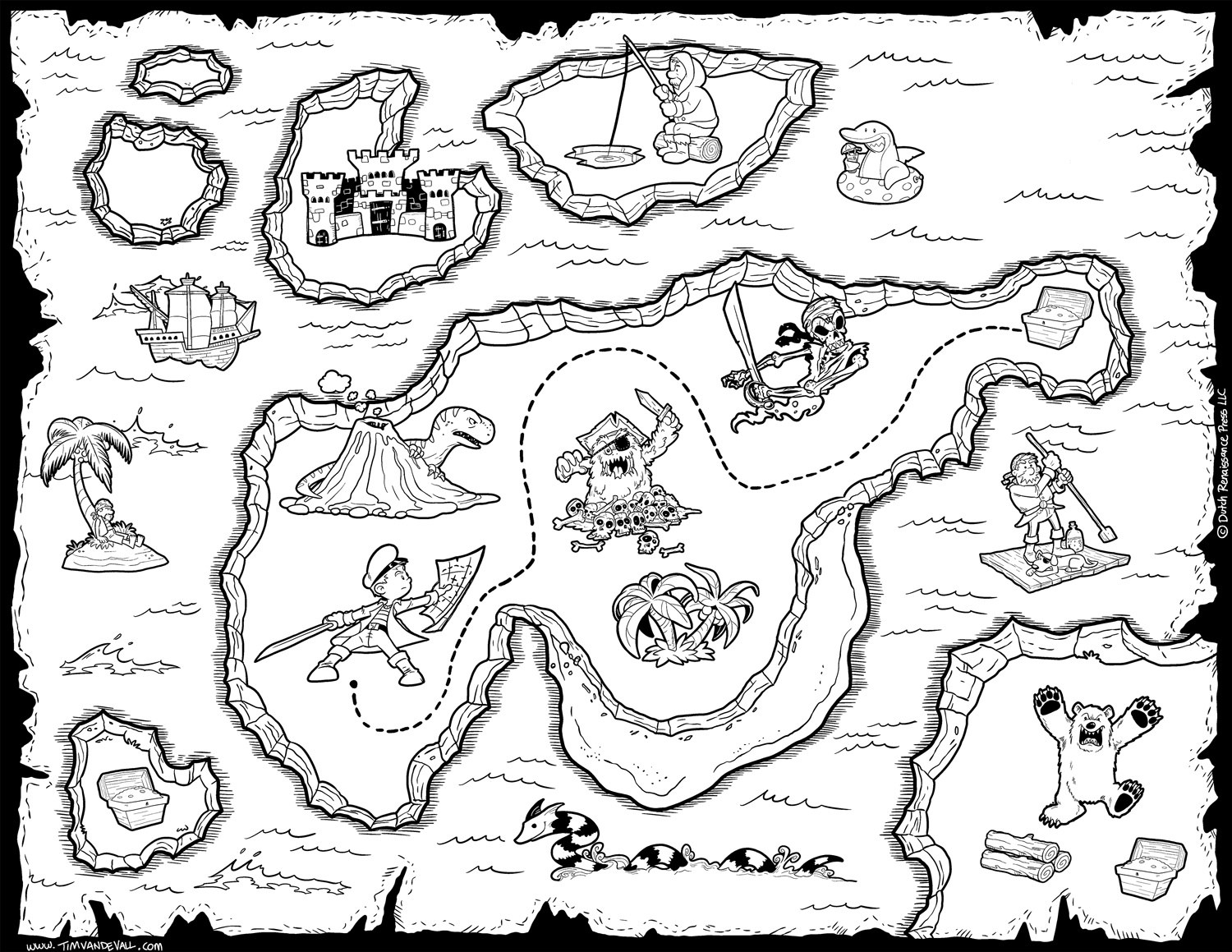 Pirate Treasure Map Coloring Pages Home