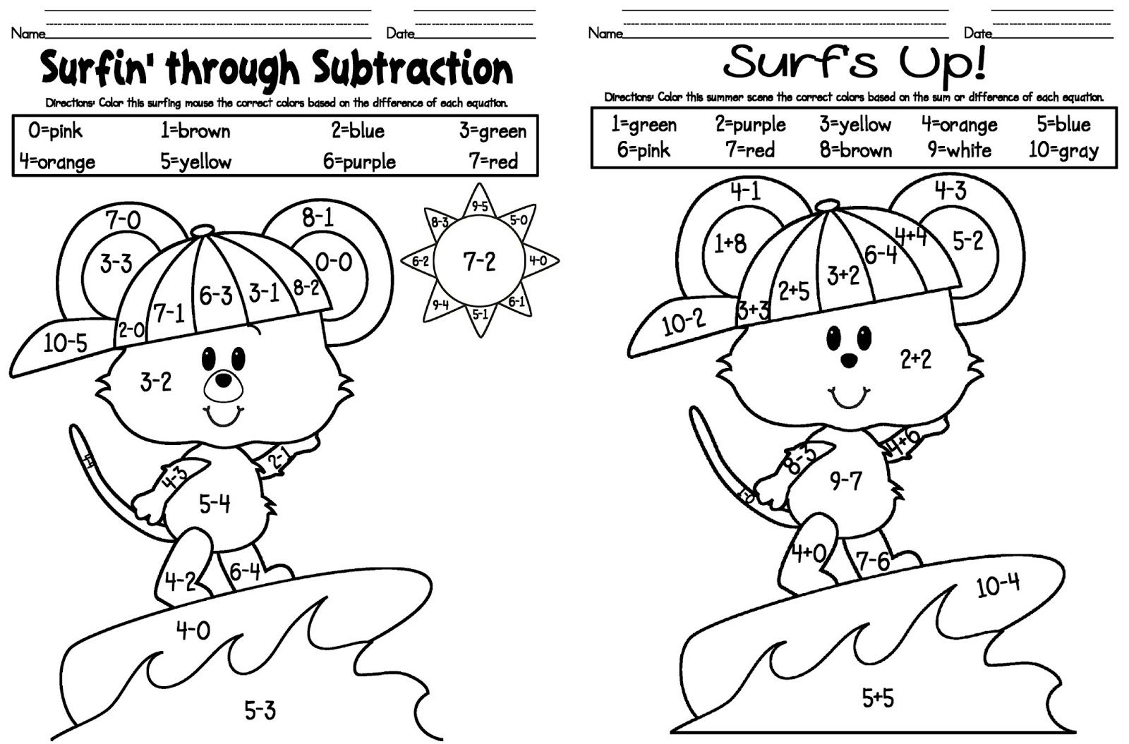 subtraction coloring pages - photo#5