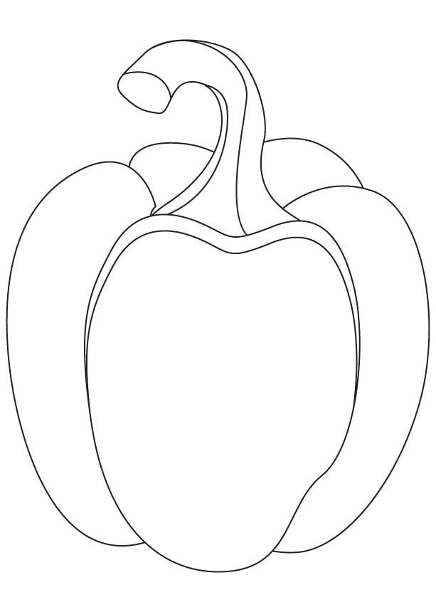 Bell Pepper Drawing | Fruit coloring pages, Vegetable coloring pages, Coloring  pages