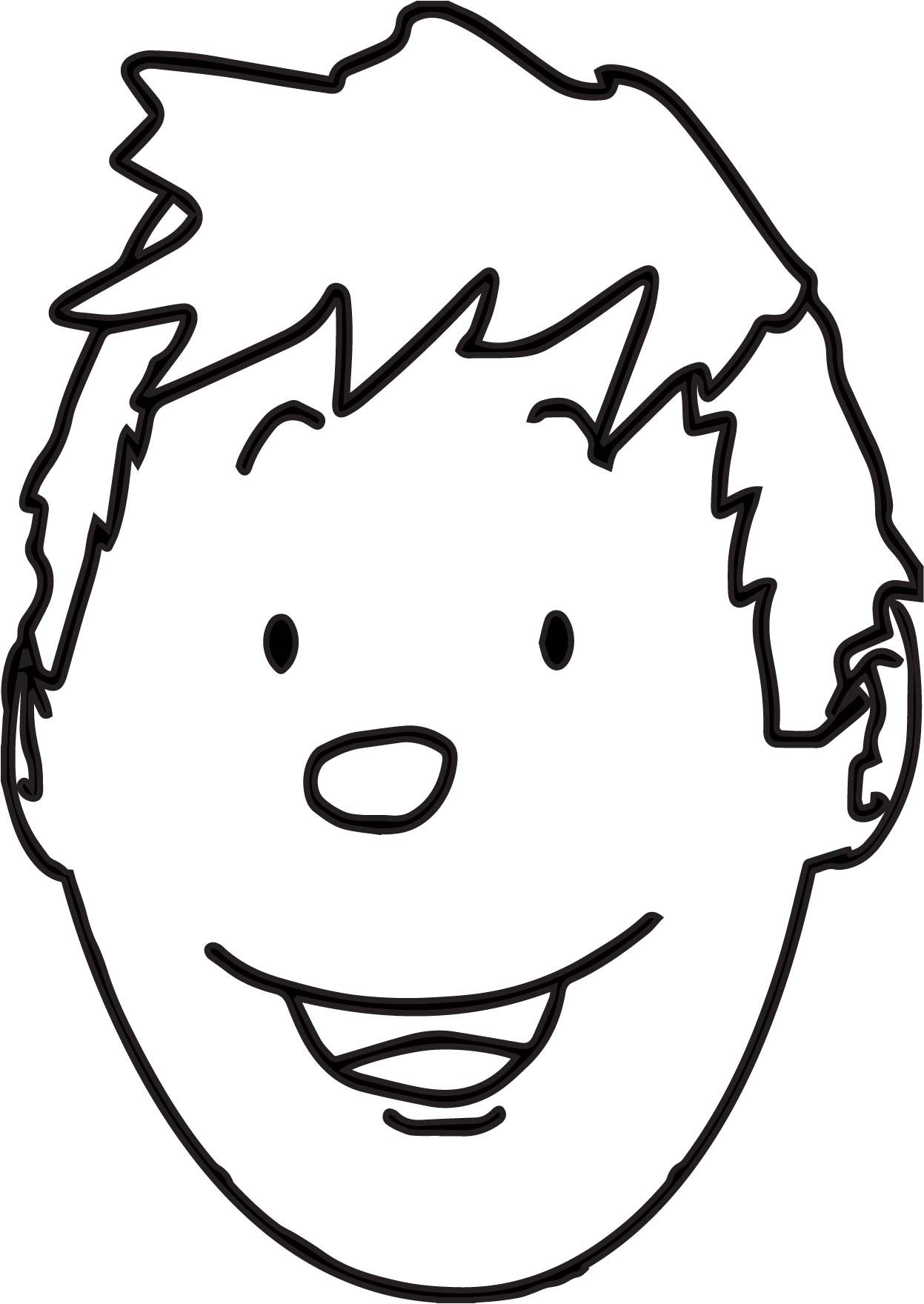 nice Boy Face Outline Coloring Page | Face outline, Dog coloring page, Coloring  pages