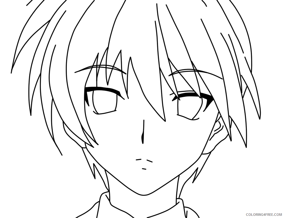 anime boy face coloring pages Coloring4free - Coloring4Free.com