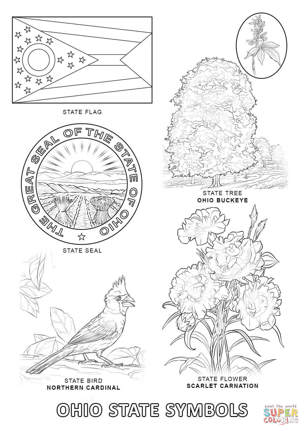 Ohio State Symbols coloring page | Free Printable Coloring Pages