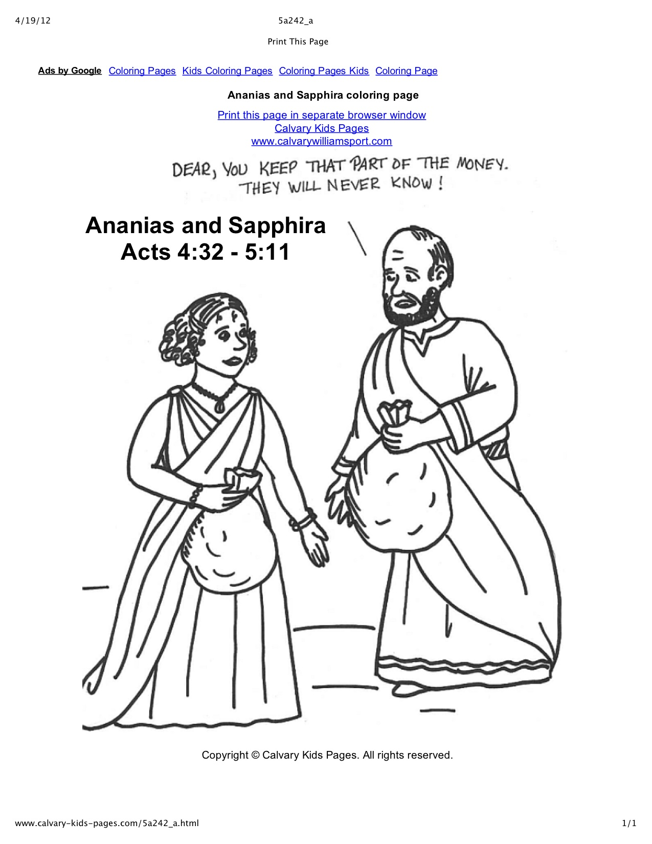 Ananias And Sapphira Coloring Page Az Coloring Pages