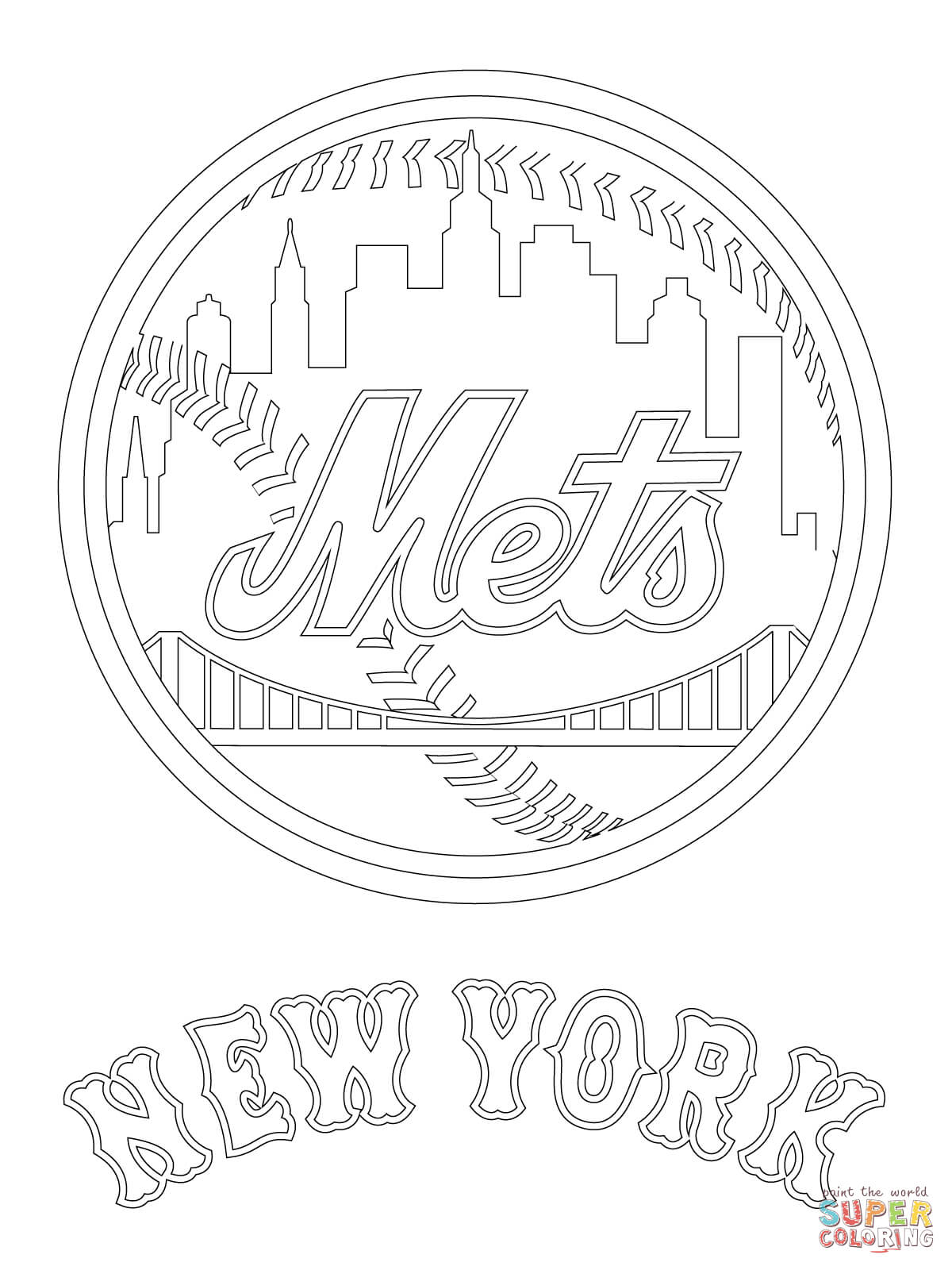 new york mets coloring page coloring home