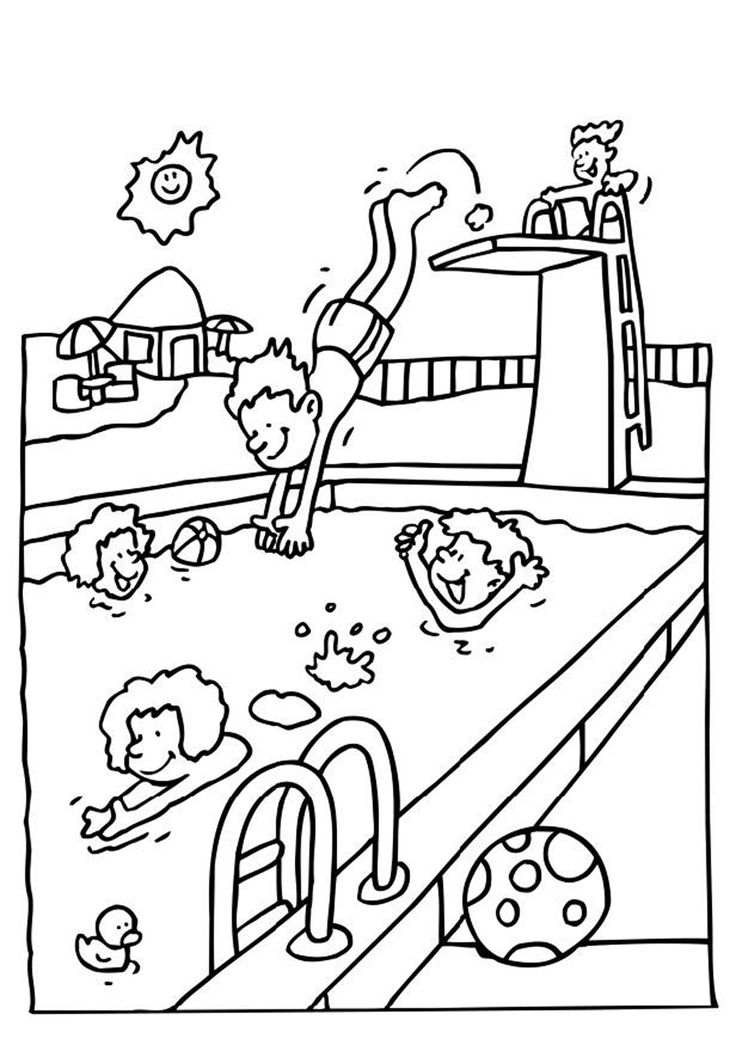 coloring pages swimming | Swimming Pool Coloring Pages - Coloring Home