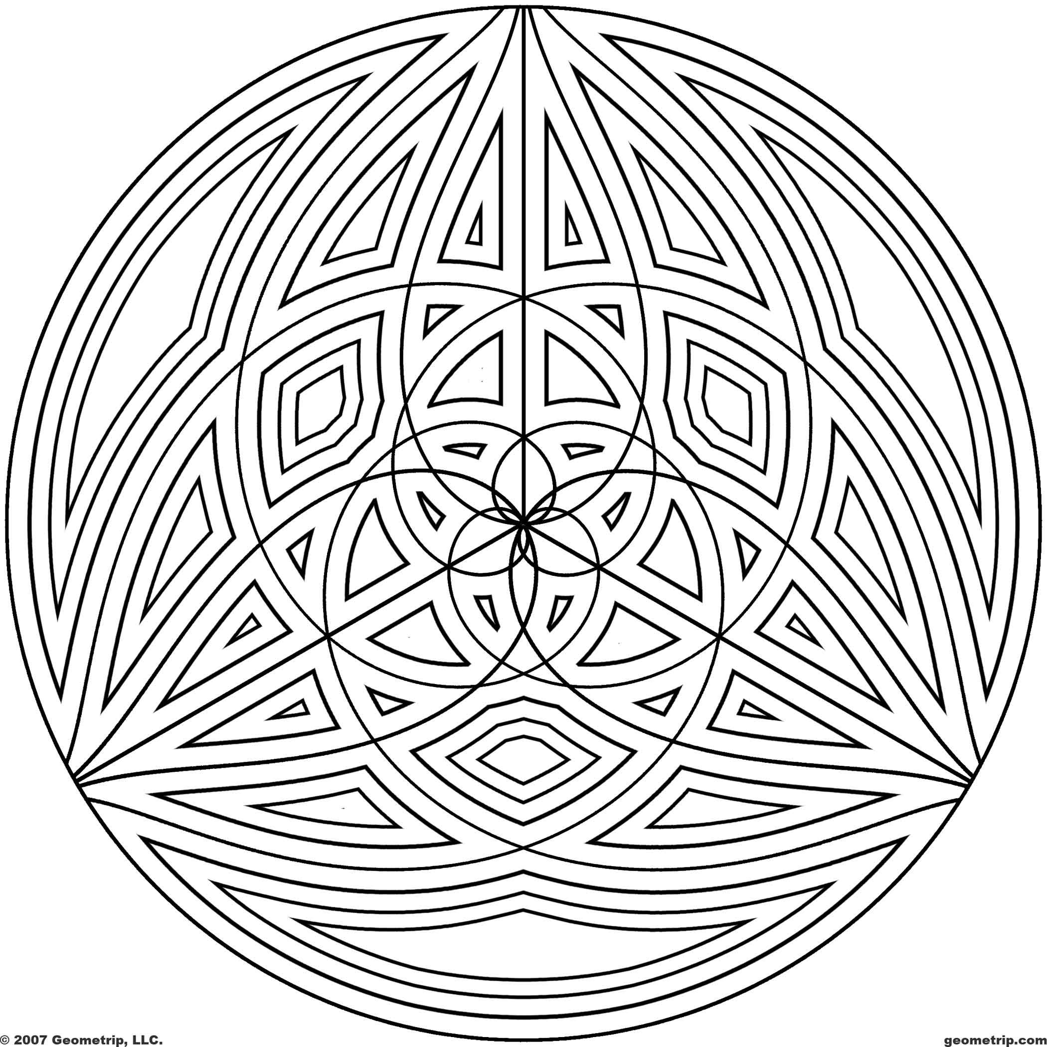 Cool geometric design coloring pages coloring home for Circle pattern coloring pages
