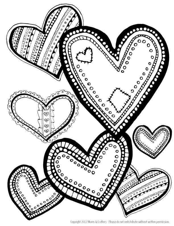 Hearts Coloring Page Download | Heart coloring pages ...