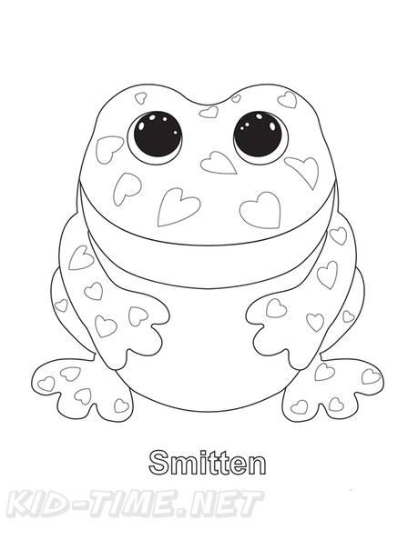 Smitten Frog Beanie Boo Coloring Book Page Free Coloring - Coloring  Home