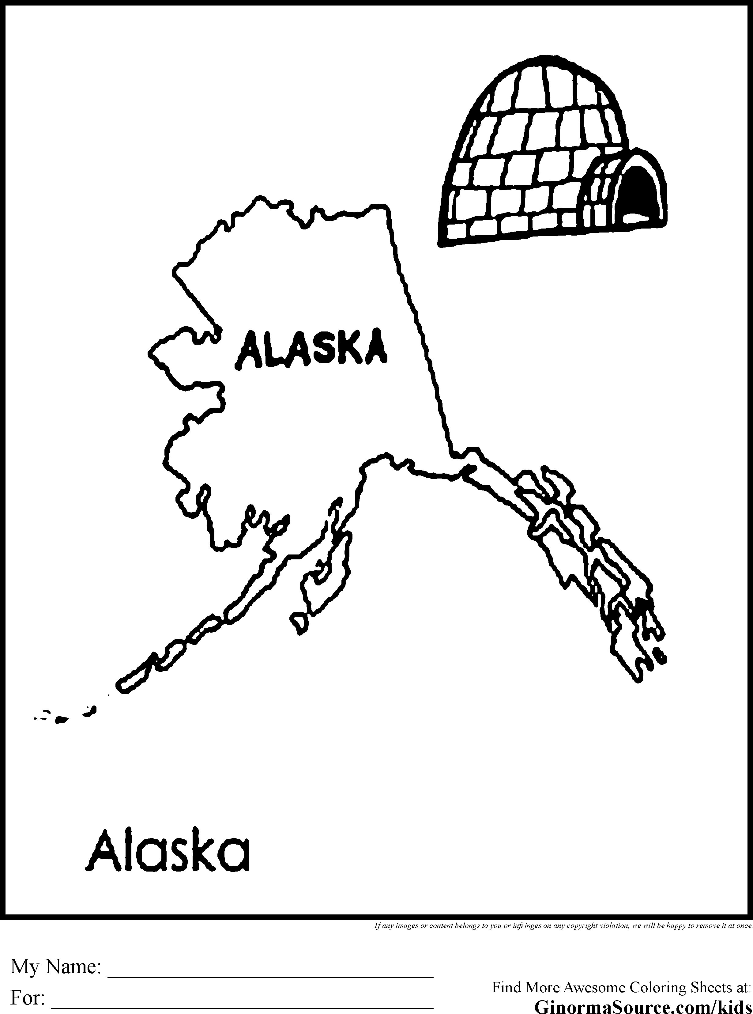 Alaska coloring pages coloring home for Alaska coloring pages