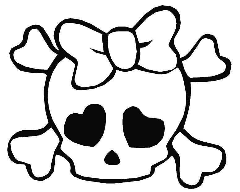 Skull And Crossbone Coloring Page Coloring Home