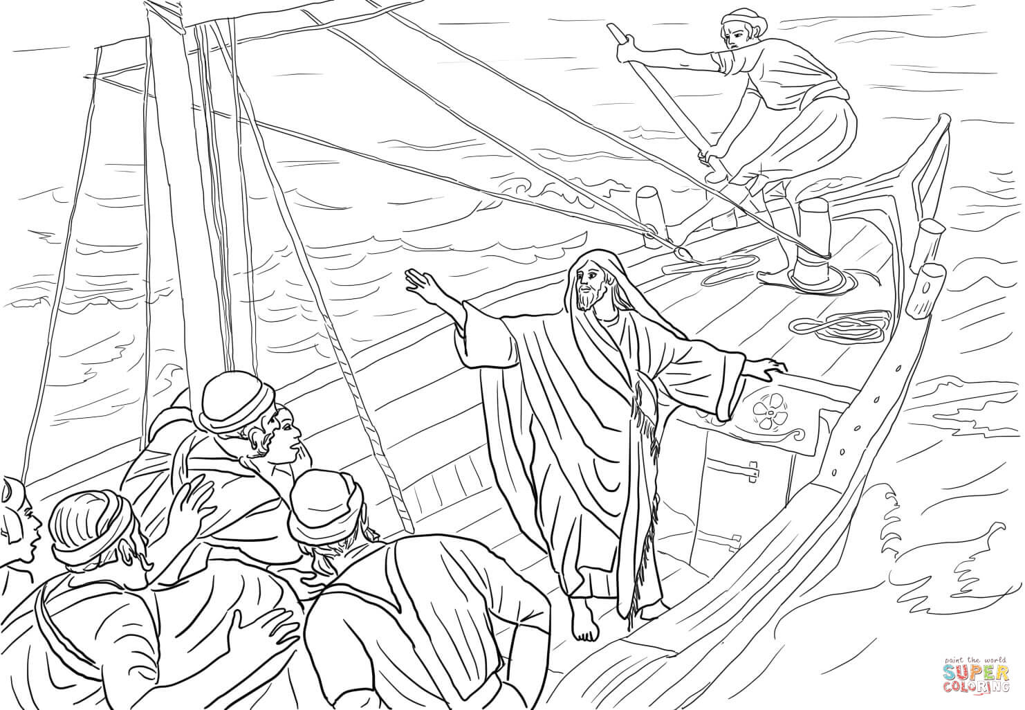 8 Pics Of Jesus Stops The Storm Coloring Page