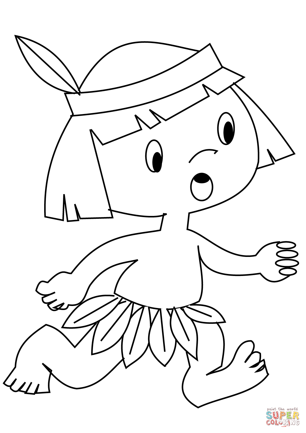 Indian headdress coloring page coloring home for Free indian coloring pages