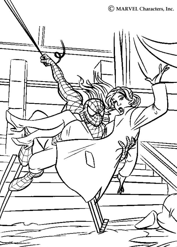 SPIDER-MAN coloring pages - Spiderman saving Mary Jane