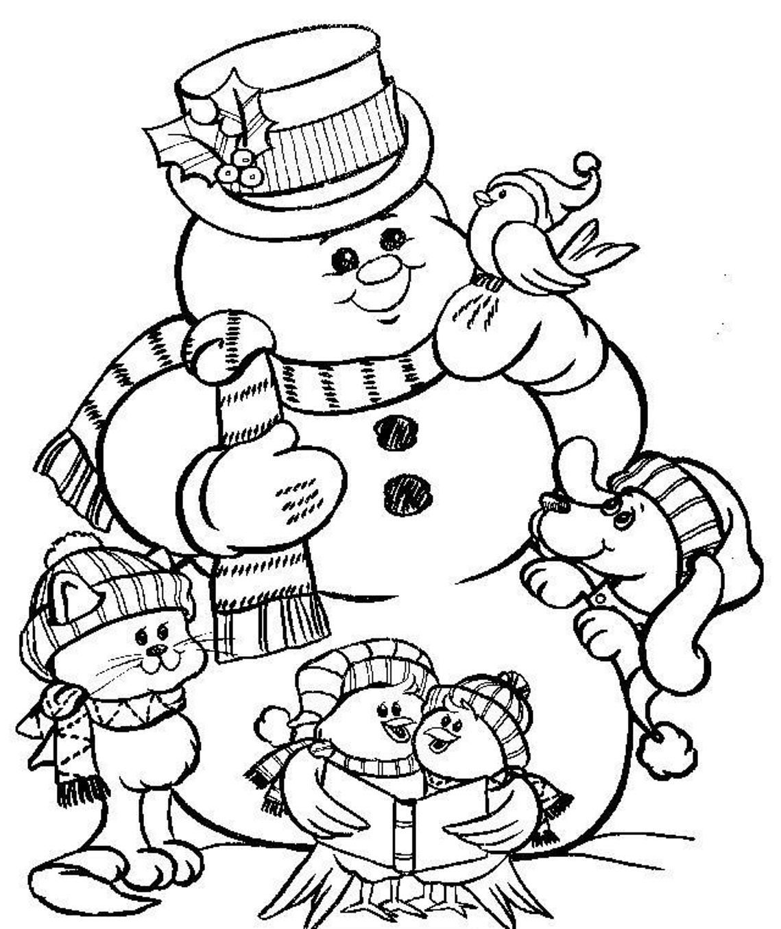 Christmas Snowman Coloring Pages To Print | Winter ...