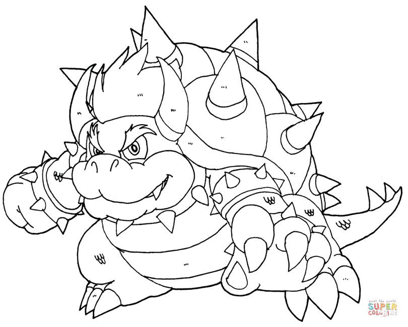 Bowser coloring page | Free Printable Coloring Pages