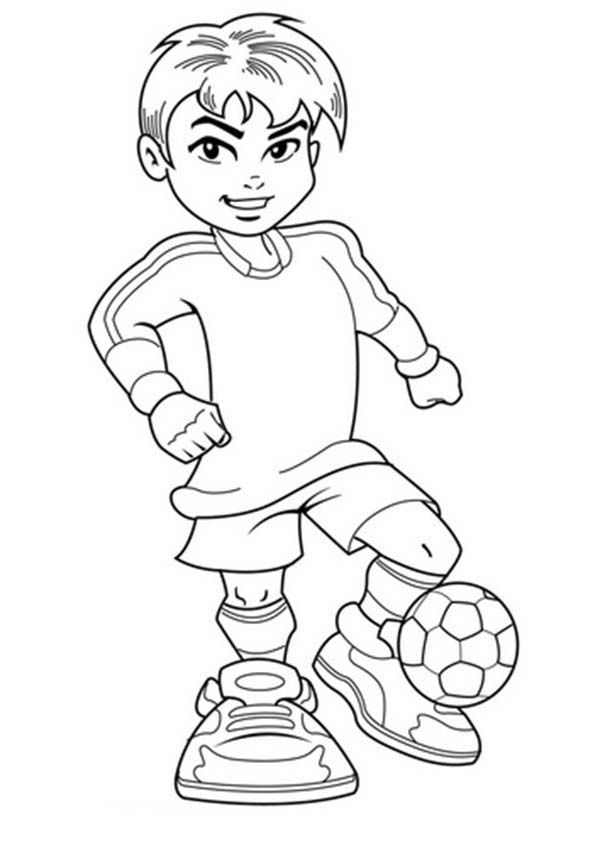 A Cute Boy on Complete Soccer Jersey Coloring Page - Download ...
