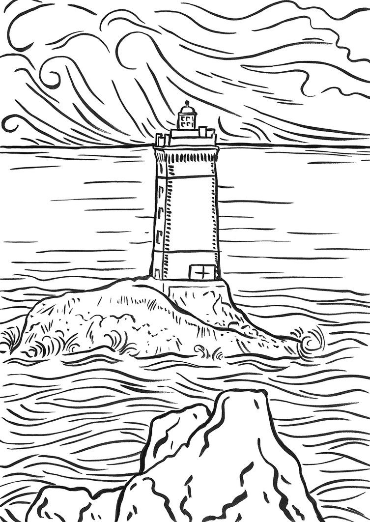 Realistic Lighthouse Coloring Pages Virtrencom