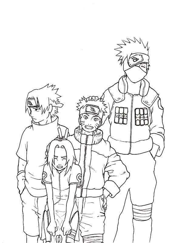 Naruto Coloring Pages Pdf : Sasuke naruto sakura and kakashi coloring page