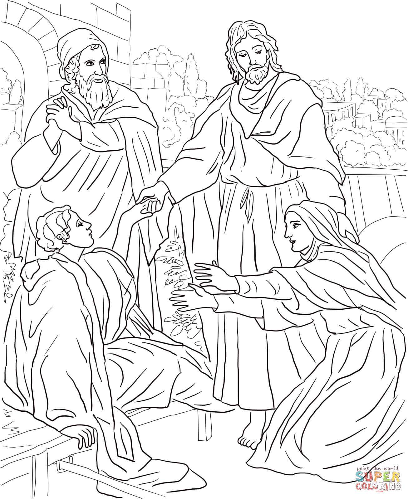 jesus raises lazarus coloring page coloring home. Black Bedroom Furniture Sets. Home Design Ideas