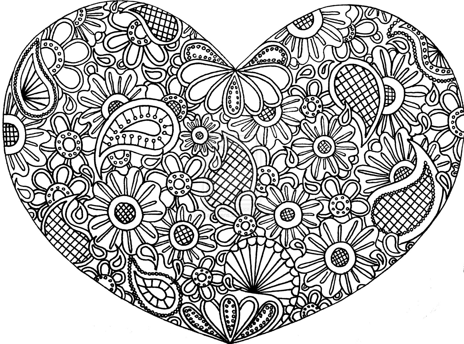 Coloring Pages For Adults Hearts : Free Doodle Art Coloring Pages Coloring Home