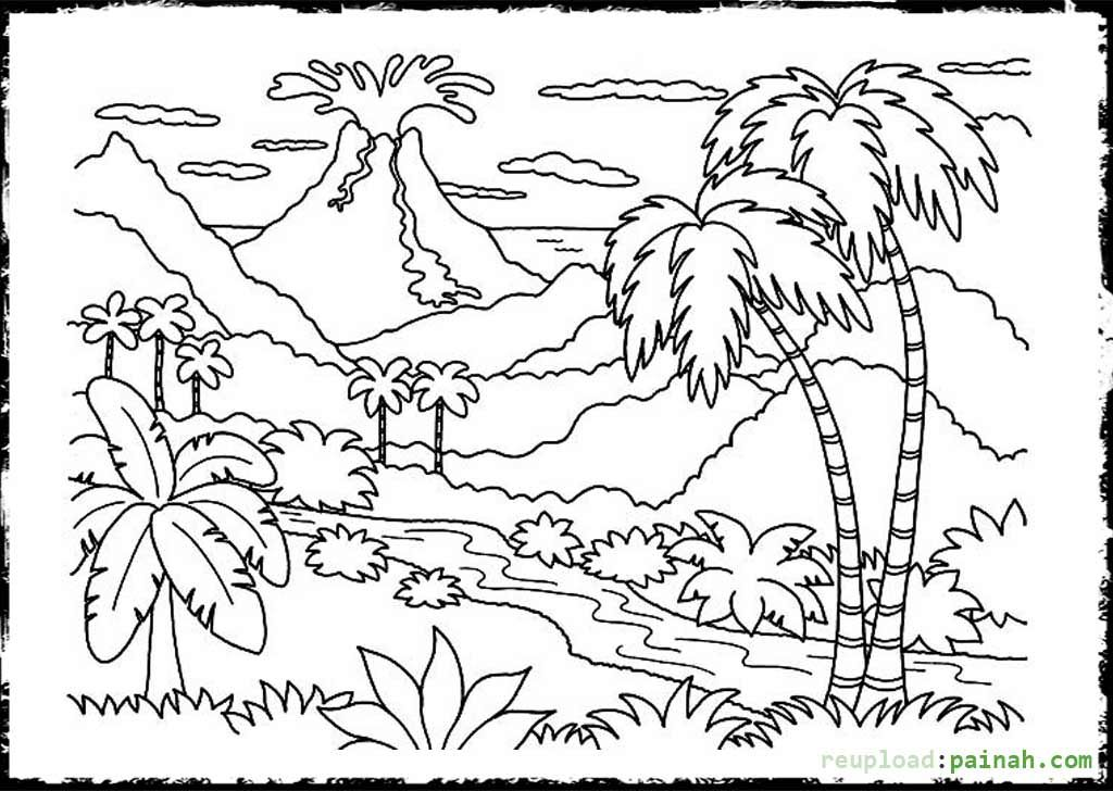 coloring pages volcano - photo #41