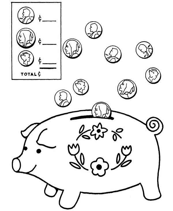 piggy bank coloring page coloring home