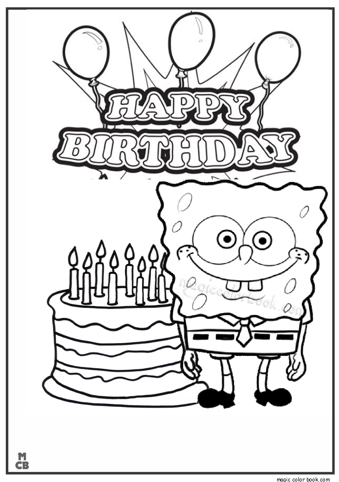 Spongebob happy birthday coloring pages coloring home for Happy birthday mommy coloring pages