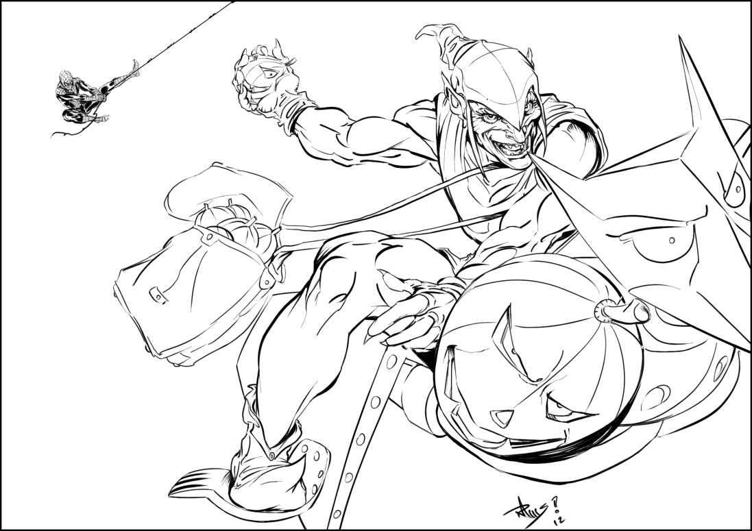 Spiderman Green Goblin Coloring Pages - Coloring Home