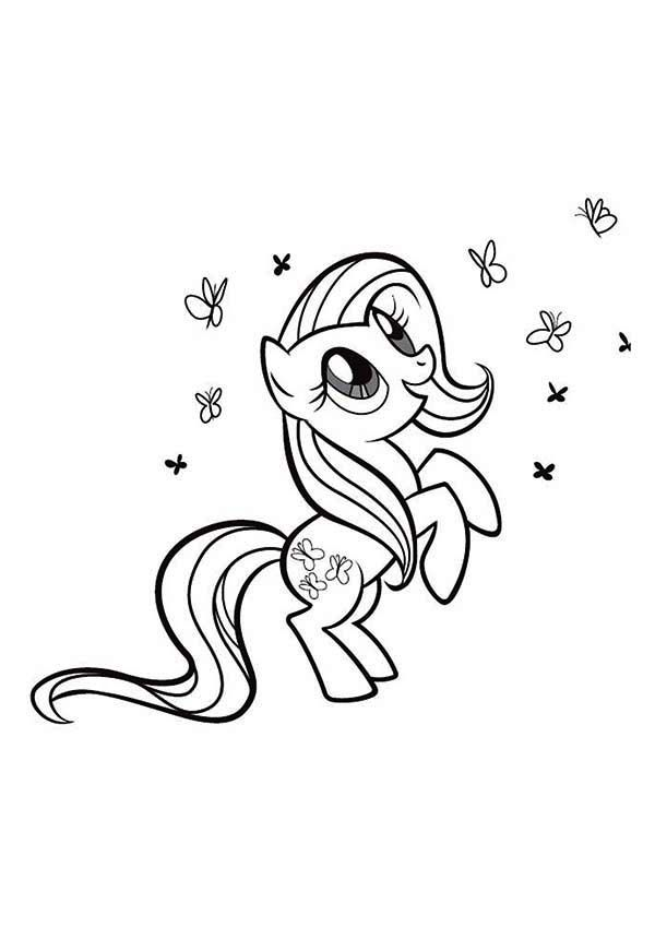 Rarity Playing with so Many Butterfly in My Little Pony Coloring ...