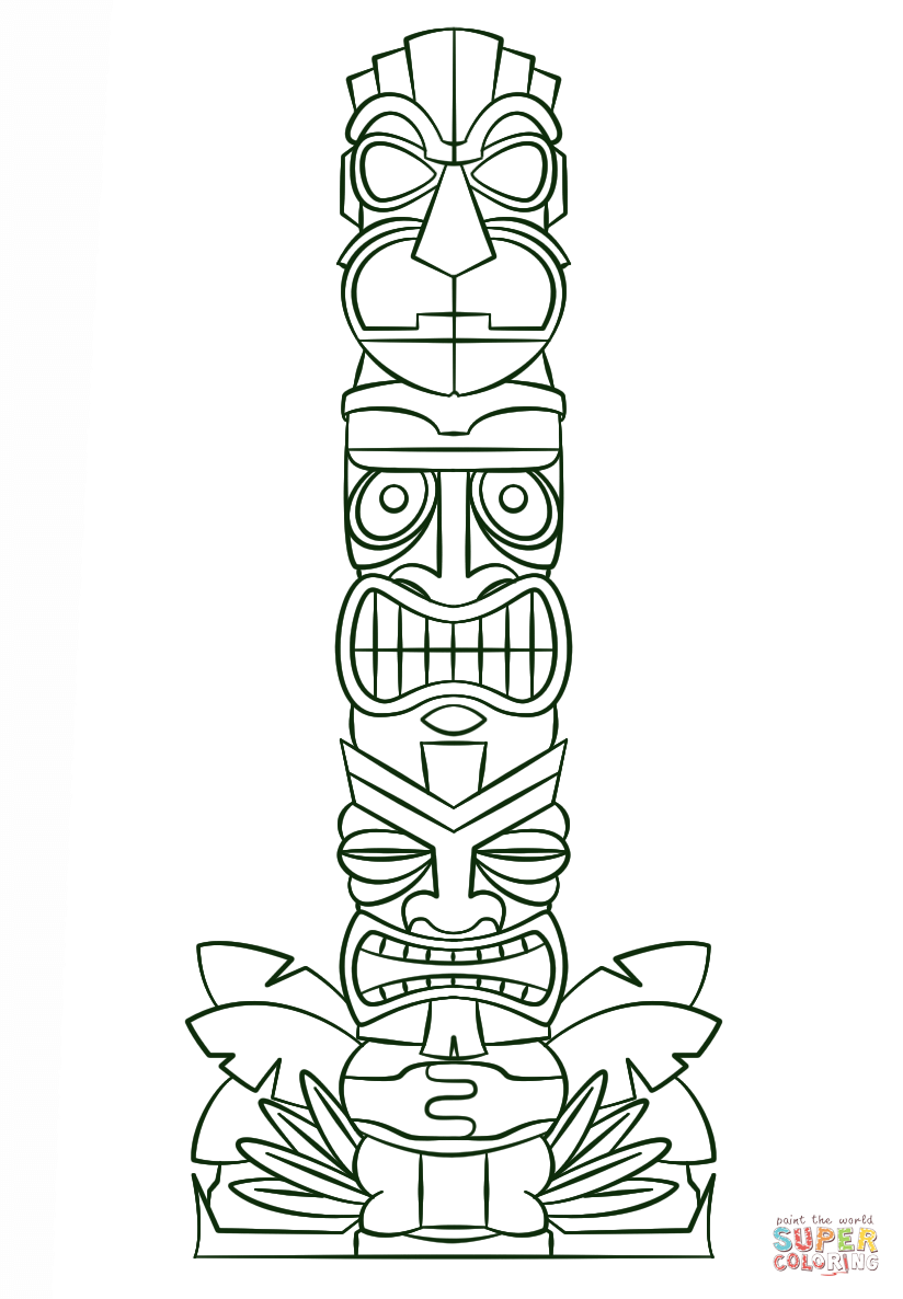 Tiki Tribal Pole coloring page | Free Printable Coloring Pages