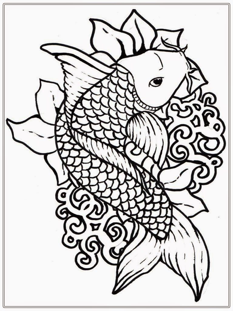 Koi Fish Coloring Page Coloring Home