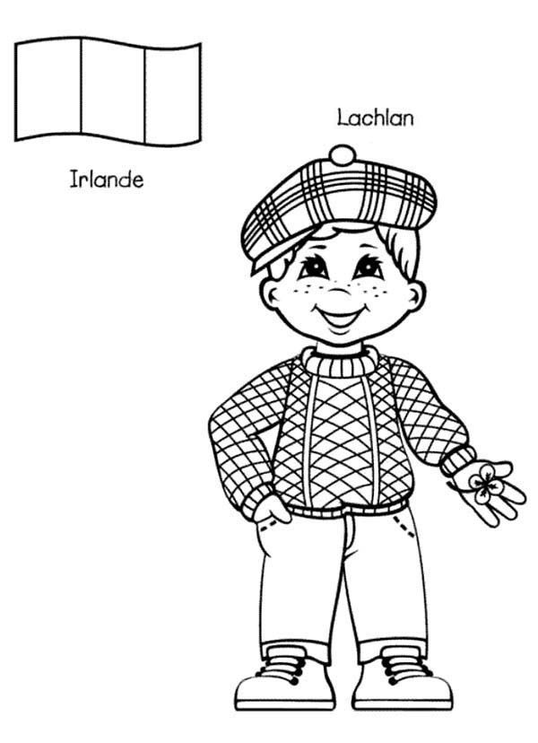 Lachlan Irish Kid From Around The World Coloring Page