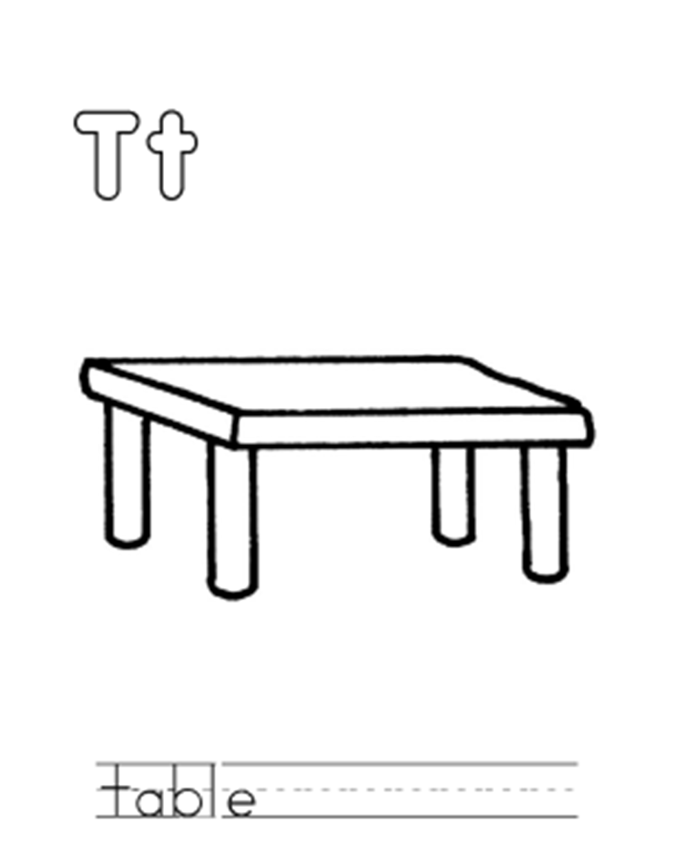 Table Alphabet Coloring Page | Alphabet Coloring pages of ...