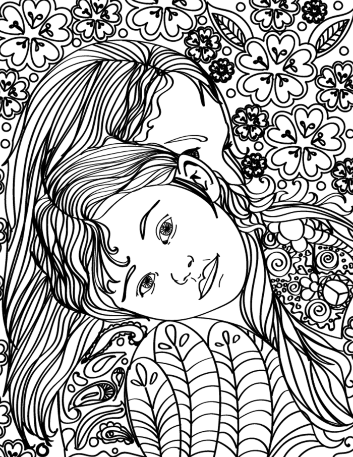 Free Printable Mother Daughter Hugging Adult Coloring Page ...