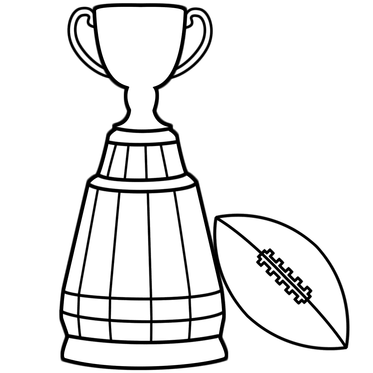 Super Bowl Trophy with Football - Coloring Page (Super Bowl)