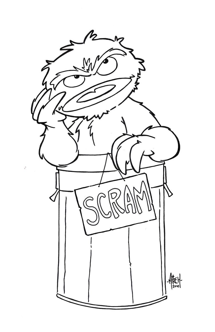 coloring pages oscar the grouch - photo#10