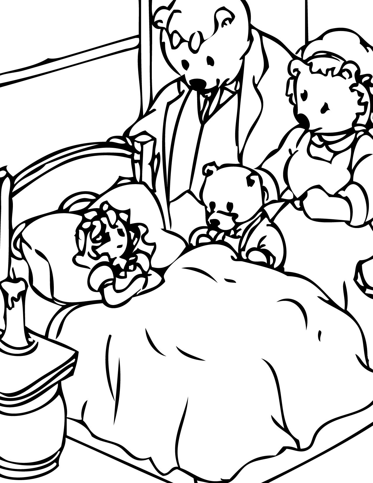 Goldilocks Girl Bear Coloring Page