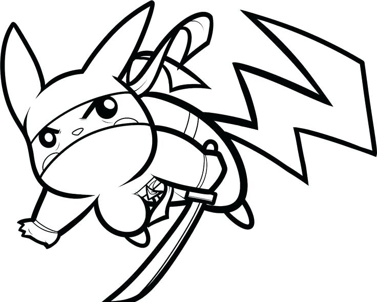 Ninja Pikachu Coloring Pages