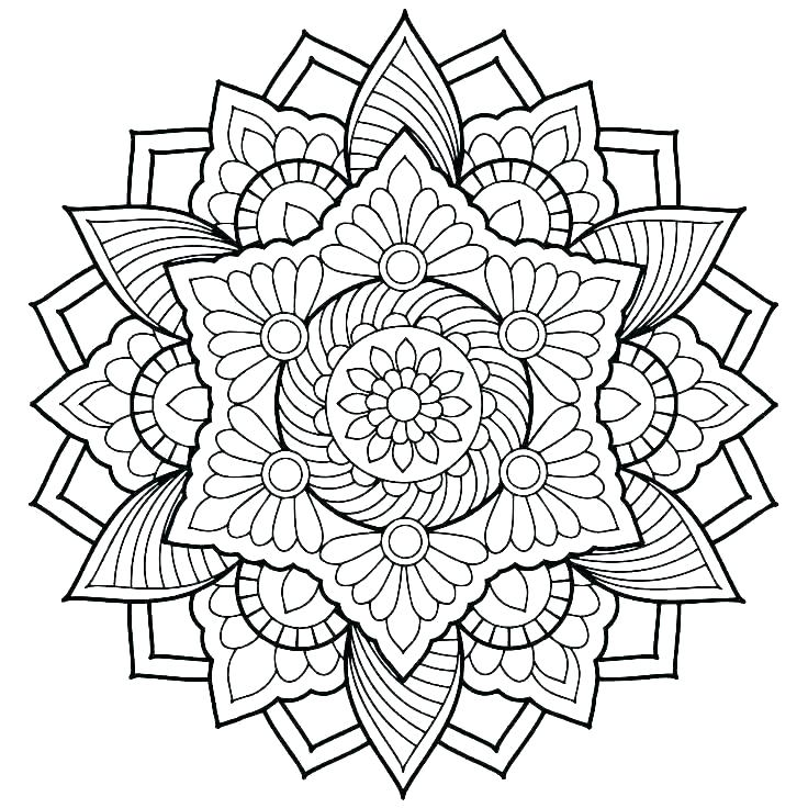Mandala Color Pages Printable Intricate Mandala Coloring Pages By -  Coloring Home