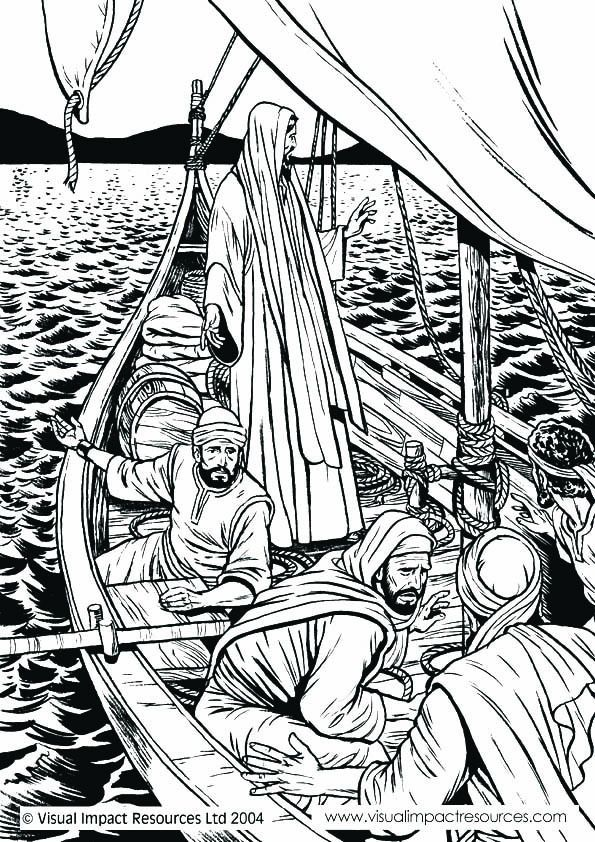 Jesus Calms Storm Coloring Page, Nativity Coloring Page Picture ...