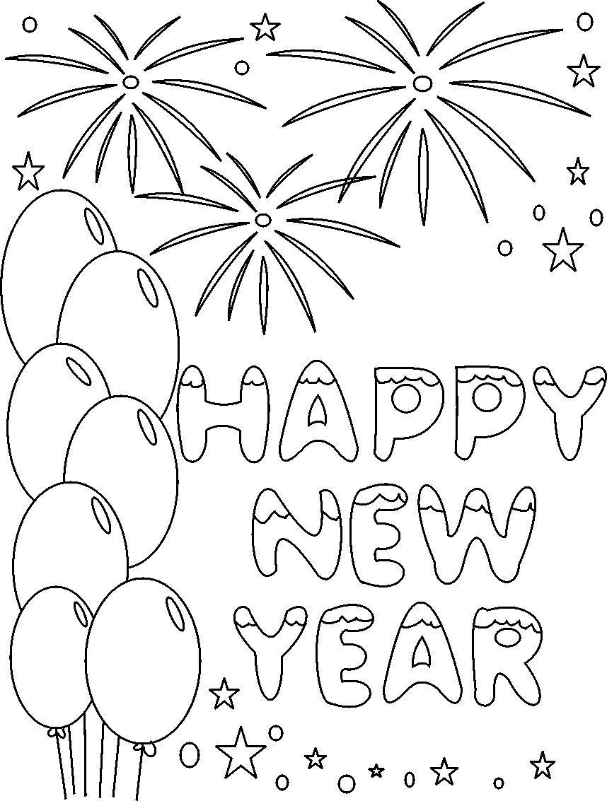 Free coloring pages new years - Happy New Year New Year S And Coloring