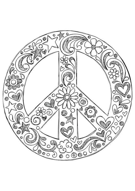Printable peace love and happiness coloring pages az coloring pages - Dessin peace and love ...