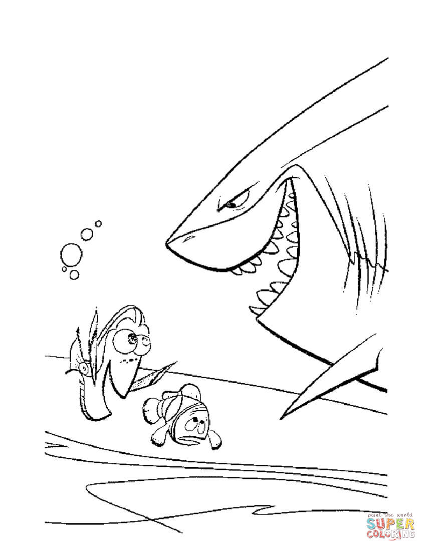 Bruce The Shark Coloring Page
