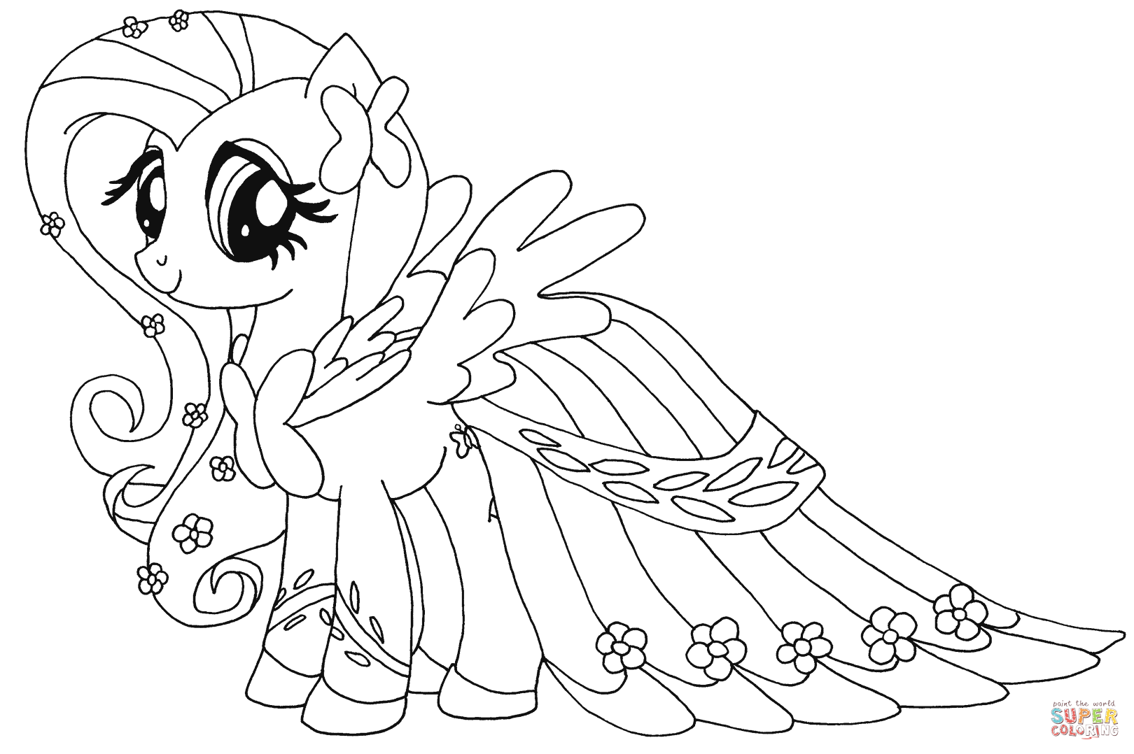 My Little Pony Coloring Pages Dress : Fluttershy printable coloring pages home